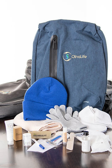 OlnaLife Dignity Backpack and contents