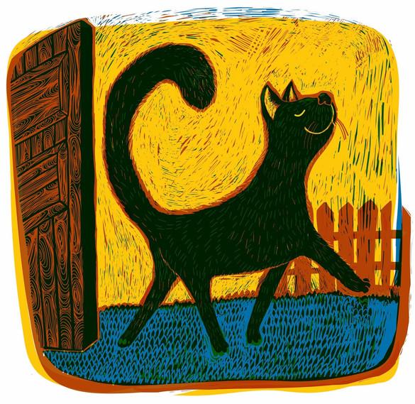 Black happy cat