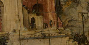 Workers with ladders in high resolution view