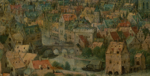 Large town with bridge located to the left of the Tower of Babel construction site