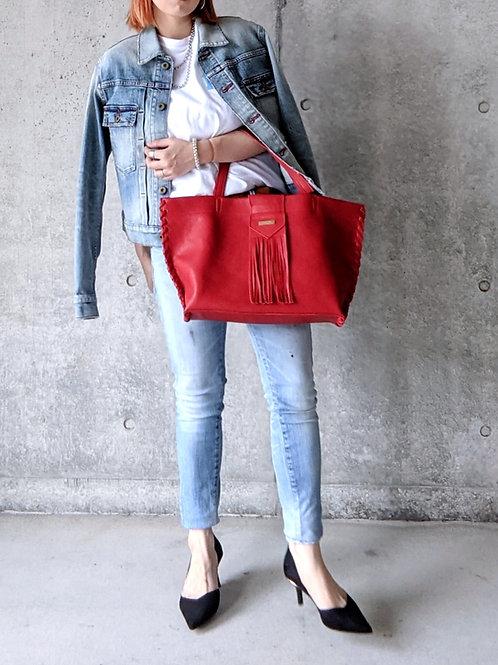 《SANLDK》STITCH EDGE TOTE BAG-red-