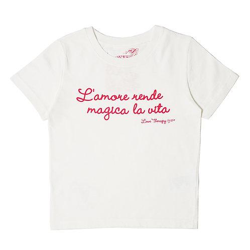 """T-shirt """"L'amore rende magica la vita"""", bianco"""