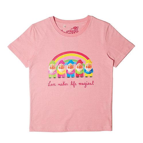 """T-shirt """"Rainbow Gnomes"""", rosa bubble"""