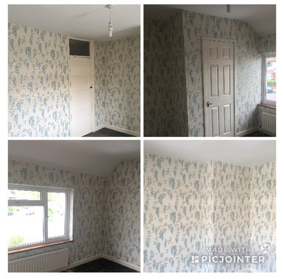 Wallpapered and painted
