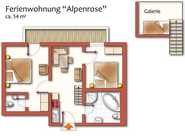 Grundriss Ferienwohnung Alpenrose