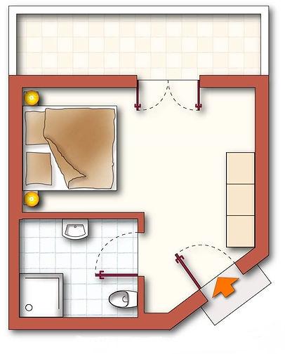 Grundriss des Zimmers Silberdistel