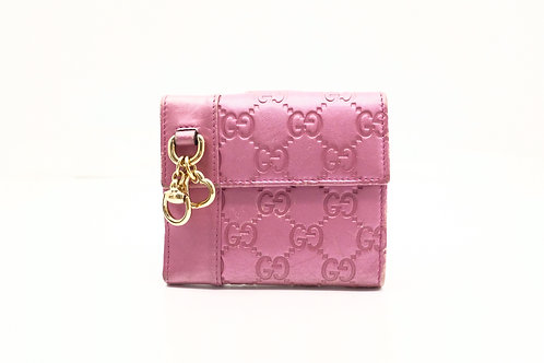 Gucci Guccissima Compact Wallet in Pink Textured Leather