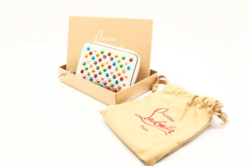 Louboutin Zipped Coin Case in Rainbow Spiked Leather