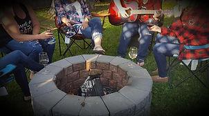 wine camp friends and camp fire