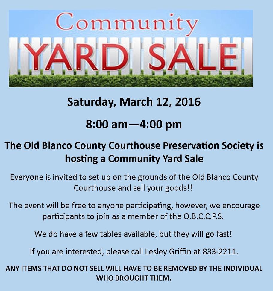 Community Yard Sale!!