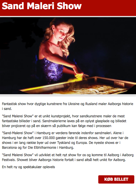 Sand Malerei Show in Dänemarkt