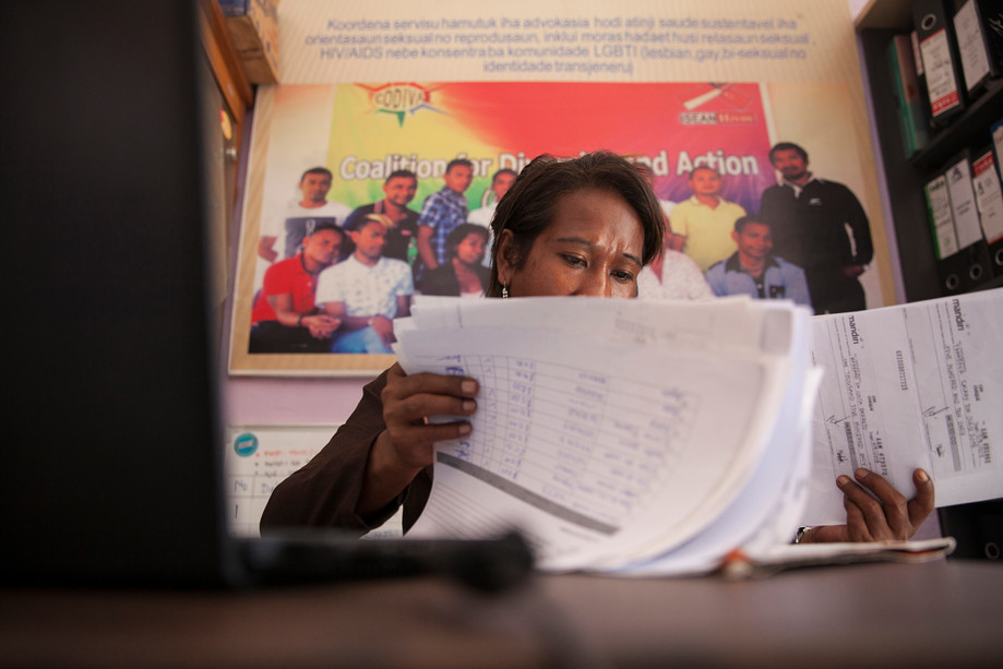 At CODIVA Foundation, Romi Aty takes care of papers for a financial report. CODIVA (Coalition for Diversity and Action) is one of the most important Timorese institutions to support minorities like LGBT. This foundation started with a HIV/AIDS focus, but nowadays established as one of the main supporters of the Timorese LGBT. Aty is the only staff member. She said, the primary challenge of CODIVA is to get enough funding to support several events for the community. CODIVA is only supported by ISEAN Hivos, a Southeast Asian program supporting communities like MSM (Man who have sex with man) and transgender.