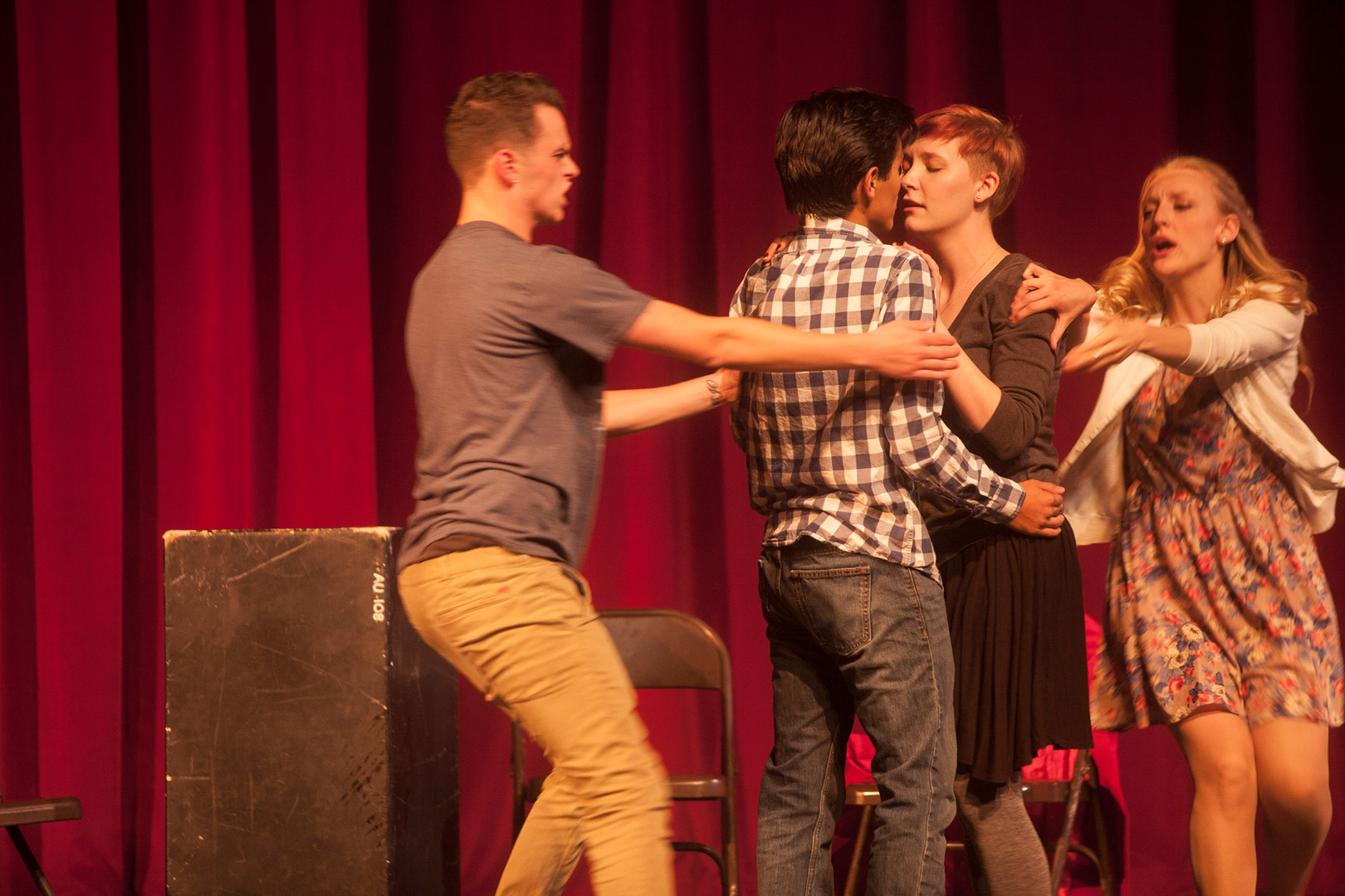 """During the """"24-hour Theatre"""" event, students Quinn Osborne, Ben Cano, Libby Lee and Kaitlin Perkins (left/right) perform a musical called Double Date. This is a story about an introvert couple who find love after a double date with an extrovert couple. The """"24-hour Theatre"""" event happens on campus at SUU and challenge students to prepare and perform plays within a 24-hours period. © September 2016"""