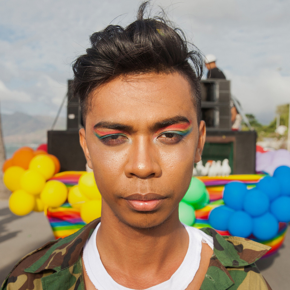 """Domingos Barros, 22, poses for a portrait at the 2018 Gay Pride, which happened in Dili. """"When I was a kid, it was hurting so much, being bullied by someone,"""" Barros said. """"I felt intimidated; I felt I couldn't defend myself. ... But now, I'm not intimidated by those people anymore."""" For the second year, about 500 people marched on the streets of Dili, capital of East-Timor, to celebrate and support the existence of the LGBT community. Natalino Guterres, the main person behind the Gay Pride, said visibility is important. """"We know that people like us exist, but nobody wants to talk about it,"""" Guterres said. """"We know that there's a problem, but people don't want to address it."""""""