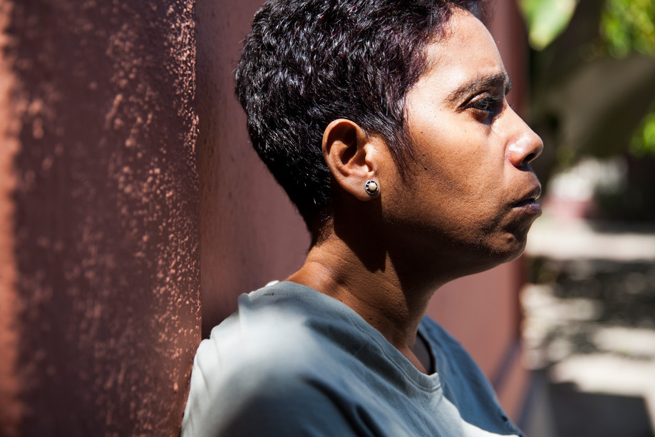 Bella Galhos, 45, poses for a portrait at her house in Dili, capital of East-Timor. Galhos is one of the most prominent members of the LGBT movement in East-Timor and an inspiration for many LBT members. She is the daughter of a man who sold her to the Indonesian for $5 when she was 4-year-old. Today, Galhos is living in Dili with her partner Iram Saeed and a daughter Irabella. Together, they run Arco Iris (rainbow), an organization that helps mistreated lesbian, bisexual and transgender women in East-Timor. In addition to that, Galhos is one of the only LGBT members who are influent among politicians; she worked as the adviser of the former President Taur Matan Ruak. Galhos considers herself a bisexual human rights activist.