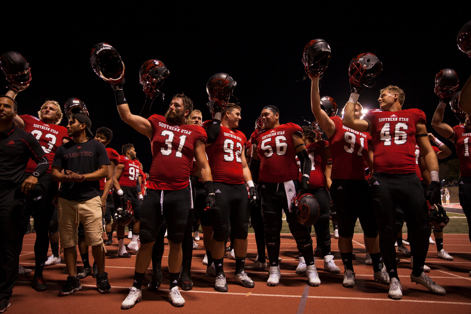 After the victory against Southeast Luisiana, the T-Birds celebrate the end of the first game of the season with the audience. The SUU Thunderbirds won Southeastern Louisiana 28-23 at the Eccles Coliseum, in Cedar City. (photo-series 03/03) © September 2016