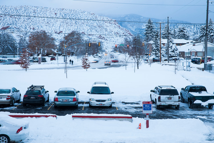 During the winter, rough days of snow are a routine in Cedar City. Located at the bottom of the Cedar Mountain, 210 miles south of Salt Lake City, in Iron County, Utah, Cedar City is the home for the T-Birds at the Southern Utah University. Students here represent less than a third of the total city's population, which is around 30,000 people. © February 2016
