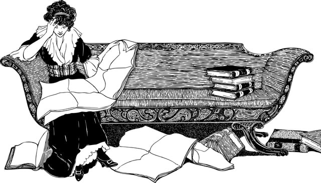 Vintage illustration of woman reading on couch