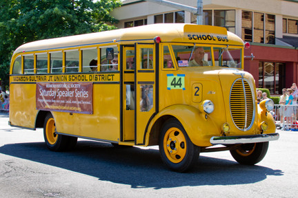 Yellow old times school bus
