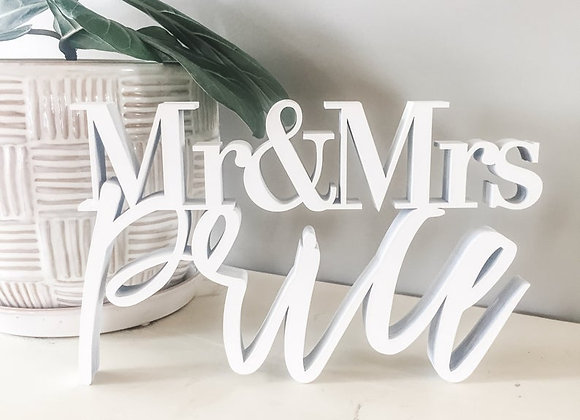 Standing Mr. & Mrs. Name Table Sign