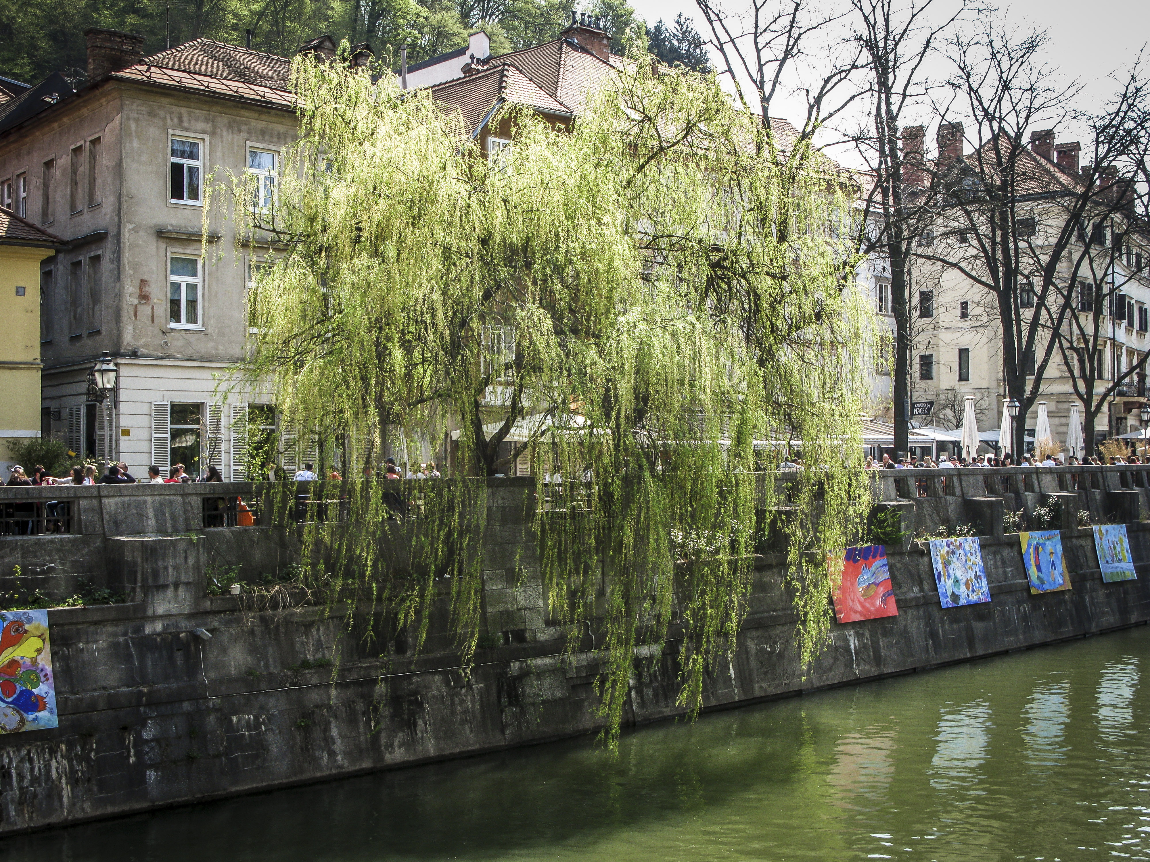 Art installations by the Ljubljanica