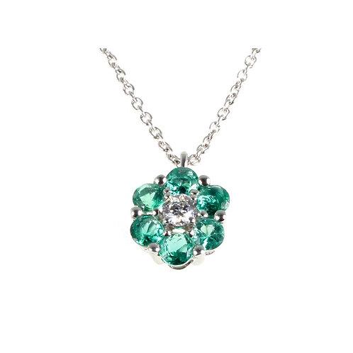 Ciondolo con smeraldi e brillante
