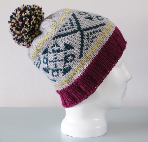 Grey Fair Isle Beanie Hat with Green and Pistachio Pattern ...