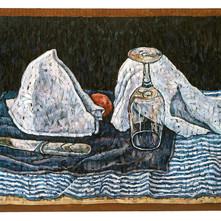 Napkins on Blue Tablecloth