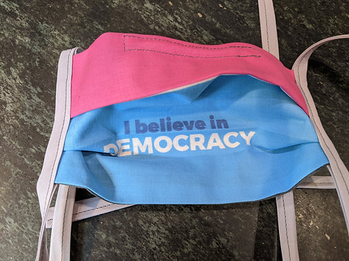 Pleated I Believe in Democracy mask (ONLY 1 in stock!)