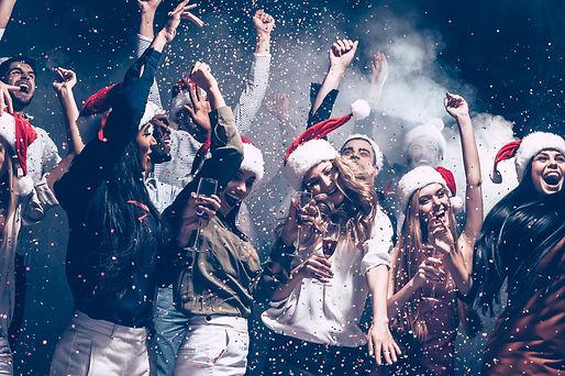 Christmas fun. Group of beautiful young