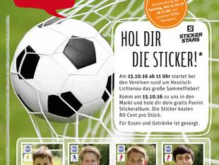 Die heimischen Fußballer als Sticker ab 15. Oktober im REWE-Markt Tina Goebel