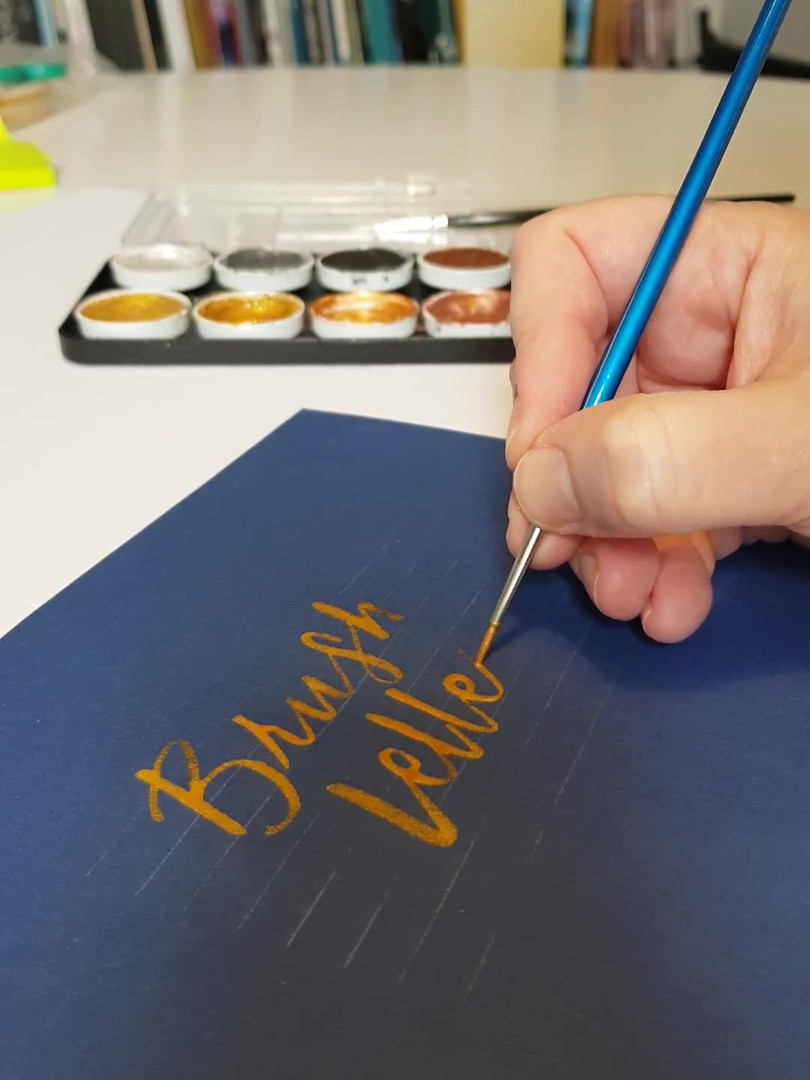 Brush lettering with metallics
