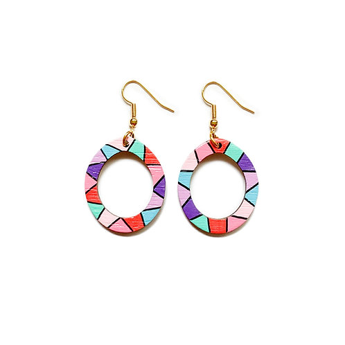 Loopy Small Oval Wood Dangles