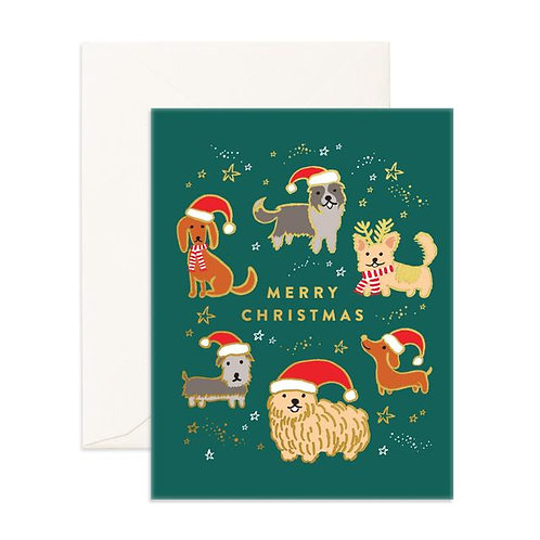 Christmas Dogs Foil Greeting Card