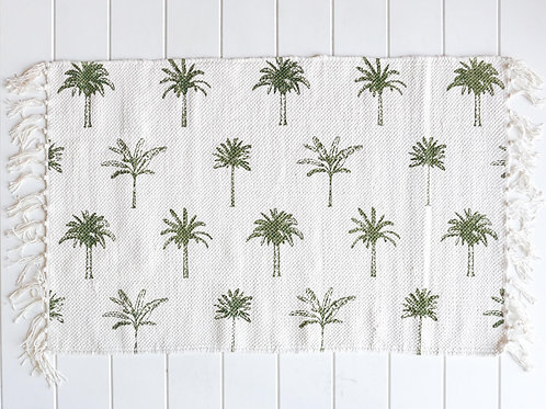 Cotton Mat - Palm Print - White/Olive Green