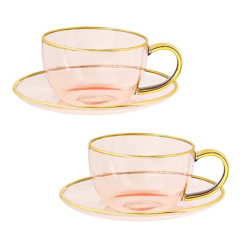 Rose Glass Teacup and Saucer Set of 2