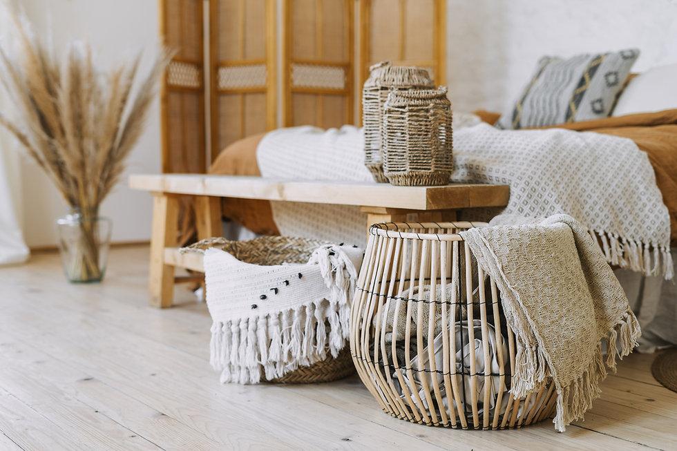 Selective focus on home decor. Comfortab