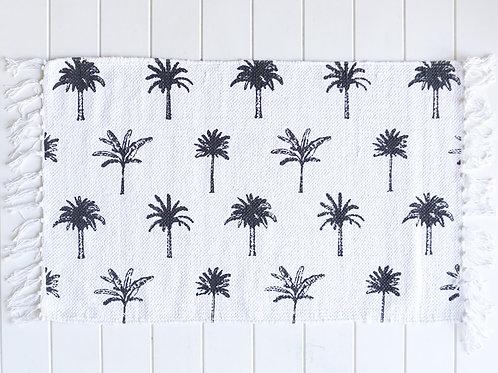Cotton Mat - Palm Print - White/Black