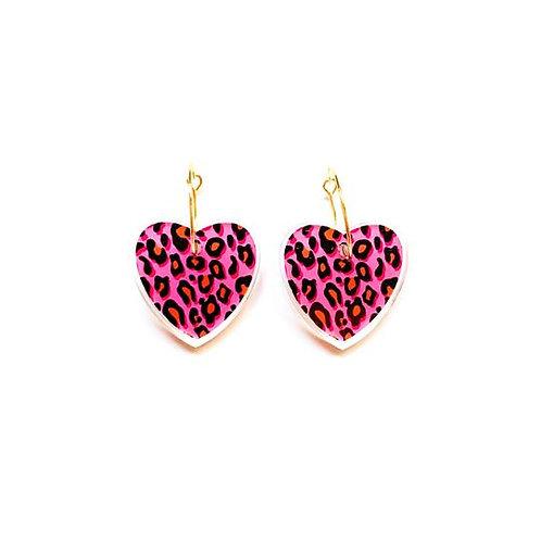 """Leopard Love"" - Pink Acrylic Hoop Dangle"