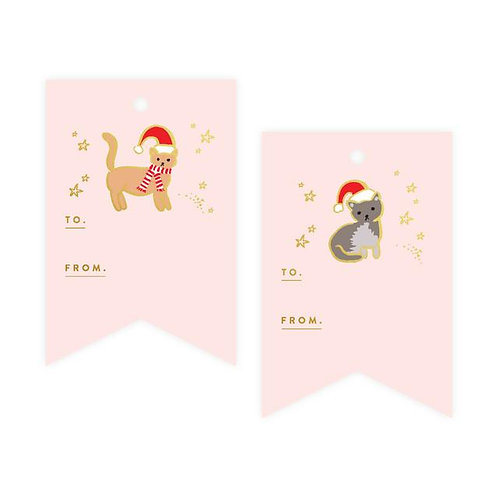 Christmas Cat Foil Gift Tag Pack