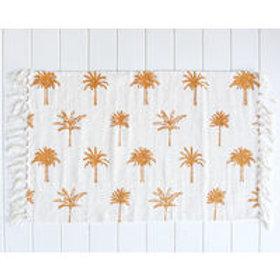 Cotton Mat - Palm Print - White/Mustard