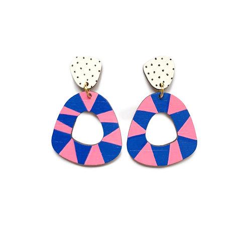 Loopy Chunky Wood Dangles -Pink/Blue