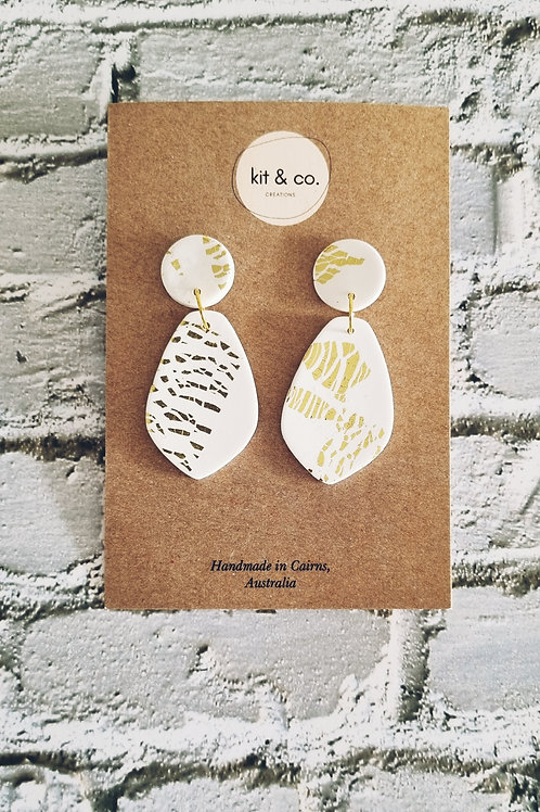 Calista - White and Gold Foil Dangle