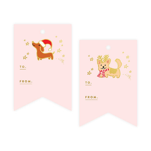 Christmas Dogs Foil Gift Tag  Pack