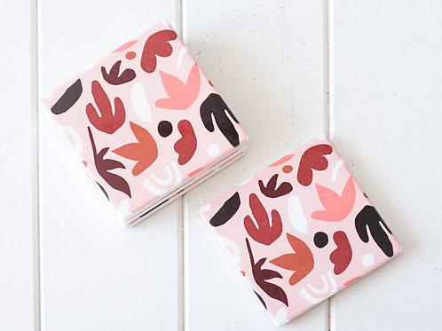 Blush Leaves Ceramic Coaster