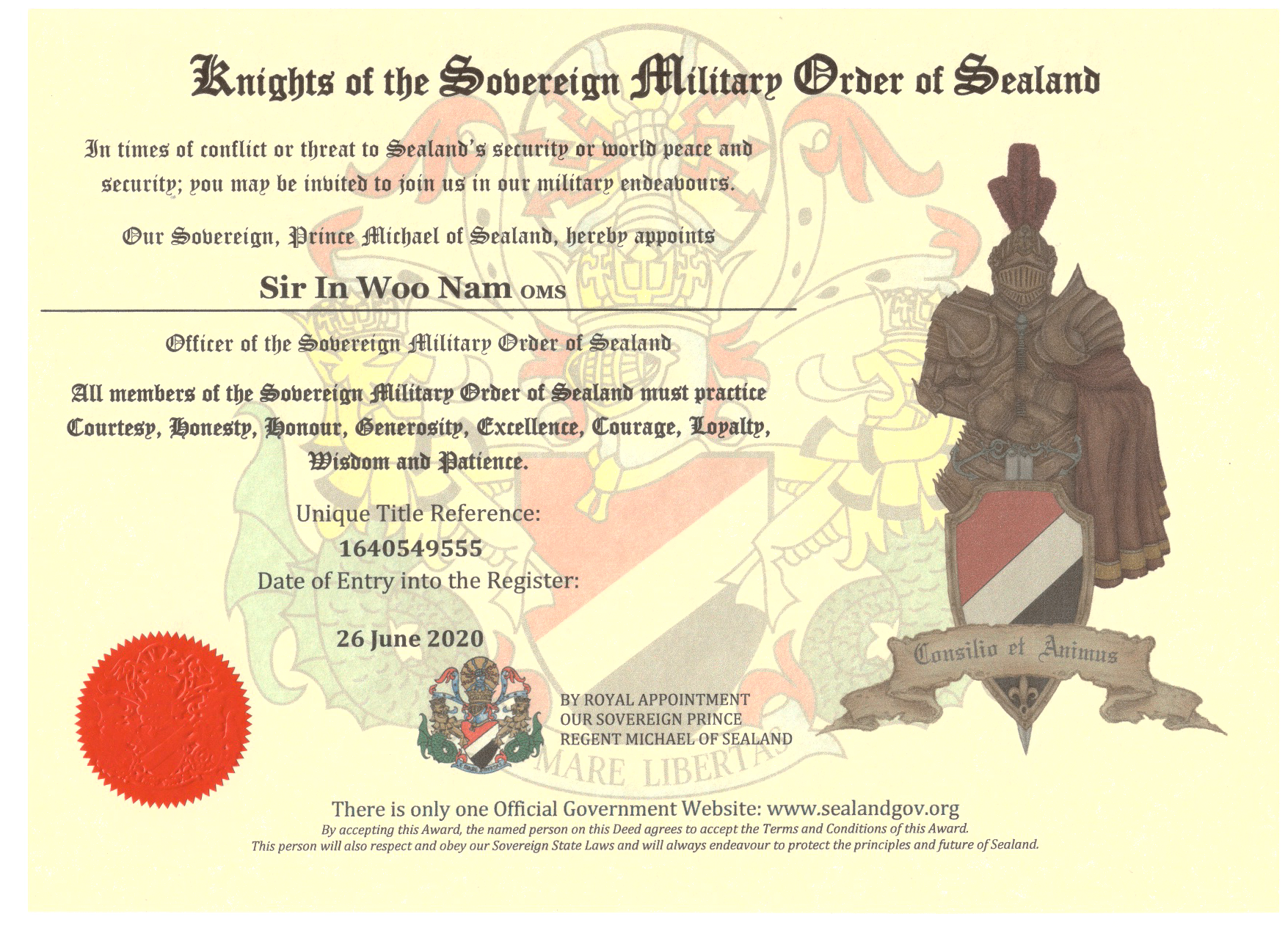 england in sealand knight sir nam in woo