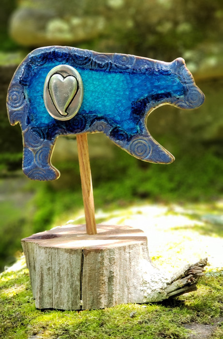 Blue Ceramic Bear w/ glass & heart on Cedar Stand