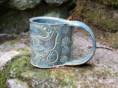Turquoise Bird Textured Mug