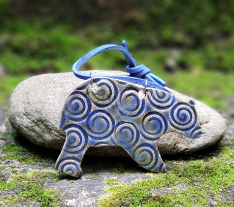 Blue Bear Ornament with Circles