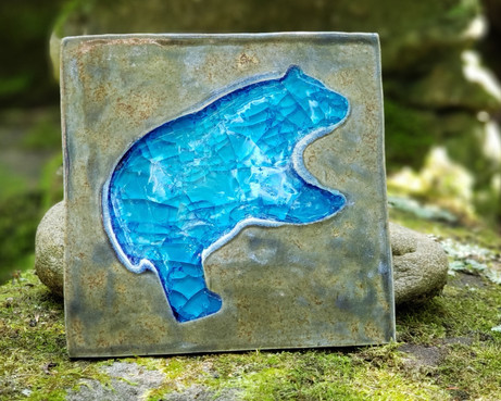 Blue Glass Bear Tile Coaster